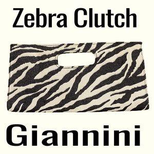 Giannini Women's Zebra Print Clutch Black and Tan